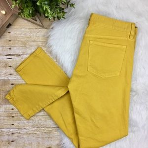 J. Crew Mustard Tall Toothpick Ankle Jeans